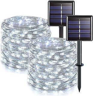 JMEXSUSS Solar Fairy Lights Outdoor Waterproof 2 Pack Each 33ft 100 LED White Solar String Lights, 8 Lighting Modes Silver...