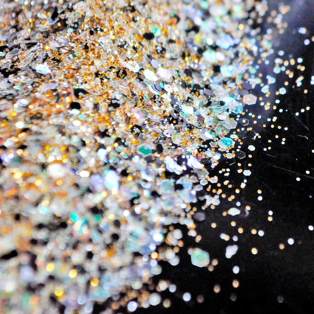 Gabcus supreme Clear Max 53% OFF Gold Black Glitter Size Mix Nail Art Powder