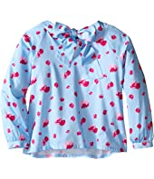 Oscar de la Renta Childrenswear - Watercolor Fleur Cotton Bow Blouse (Toddler/Little Kids/Big Kids)