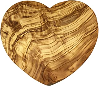 """AramediA Handmade Olive Wood Heart Shaped Board -Handmade and Hand carved By Artisans - 7.5"""" Inches or 19.05 cm - Weight: ..."""