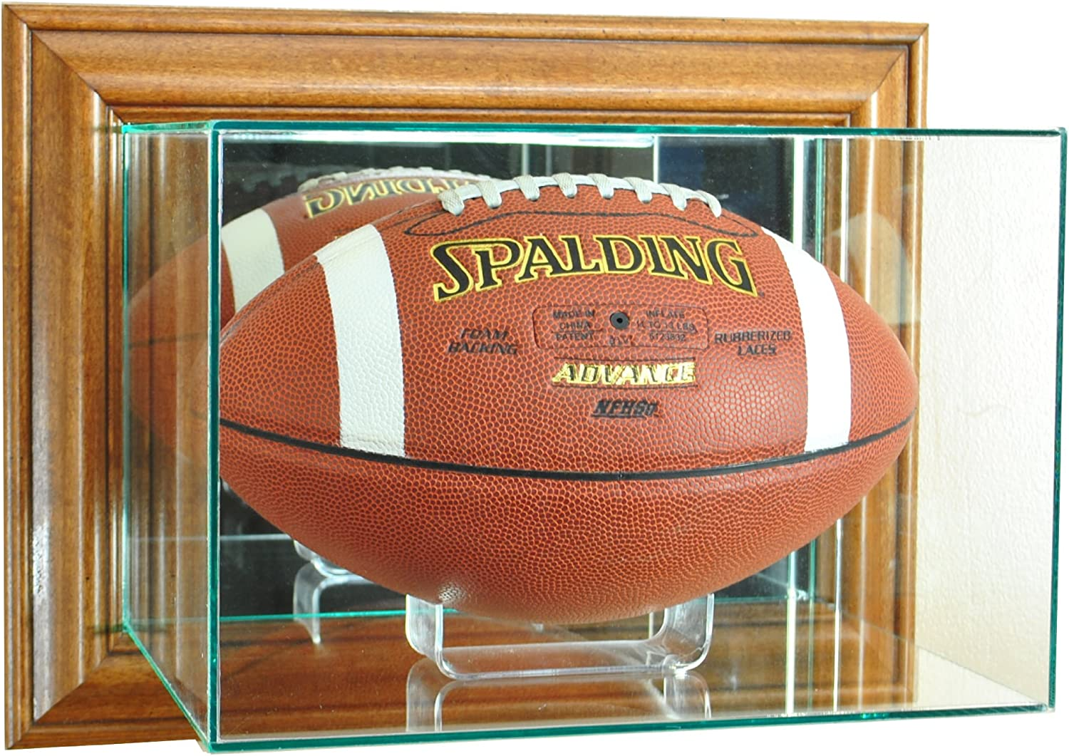 NFL Wall Mounted Football Glass Display Case Walnut