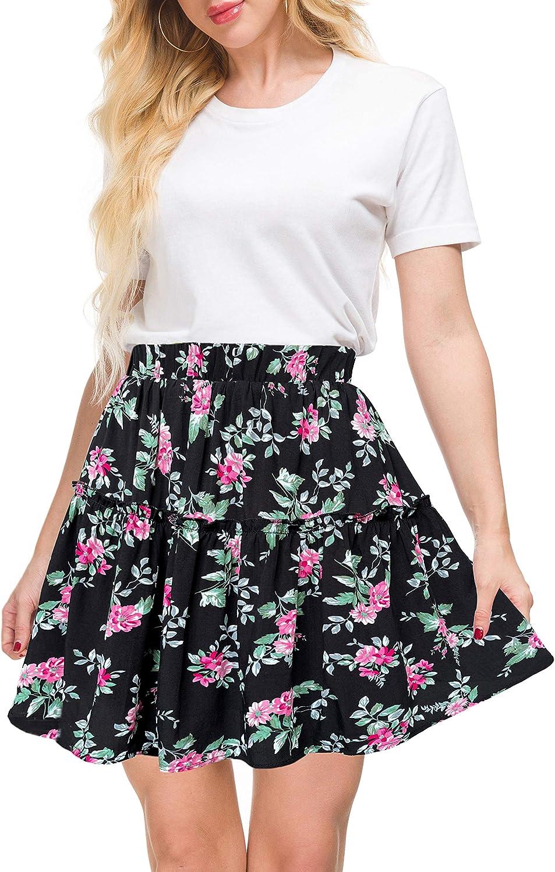 Afibi Women's Summer High Waist Floral Layered Ruffle Pleated Beach Mini Skirt
