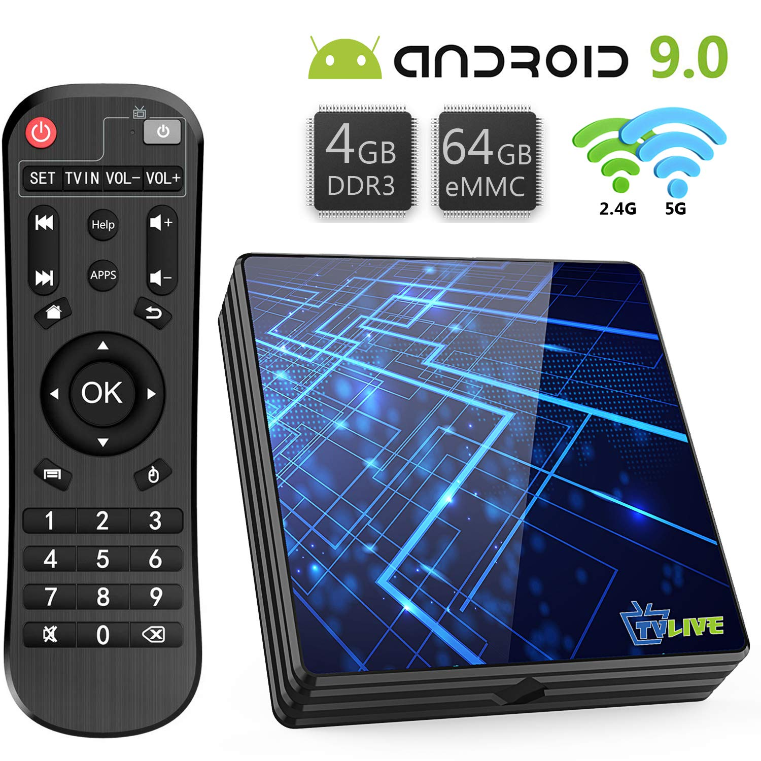 Android TV Box 9.0【4GB RAM+64GB ROM】 Livebox TV Box RK3318 Quad-Core 64bit Cortex-A53 Soporte 2k*4K, WiFi 2.4G/5G,BT 4.1, USB 3.0 Smart TV Box: Amazon.es: Electrónica