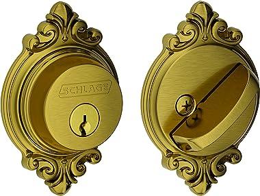 Schlage Lock Company Single Cylinder Deadbolt with Brookshire Trim, Antique Brass (B60 N BRK 609)