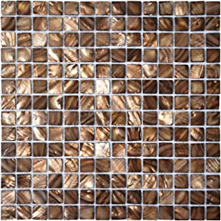 Art3d Mother of Pearl Mosaic Tiles for Bathroom Backsplashes 20mm Chips 6 Sq Ft Pack of 6