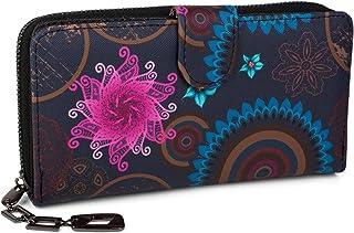 Monedero con Motivo de Flores étnicas y floración, diseño Vintage, Cremallera, Mujeres 02040040, Color:Azul Oscuro-Azul-Fucsia