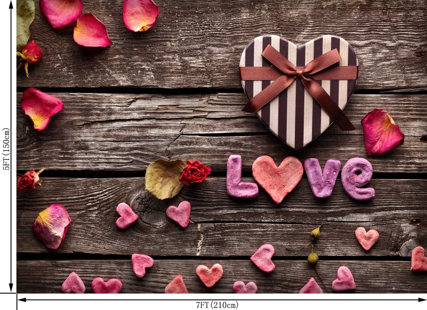 OUYIDA 9X6FT Valentines Day Theme Pictorial Cloth Photography Background Computer-Printed Vinyl Backdrop TD58B