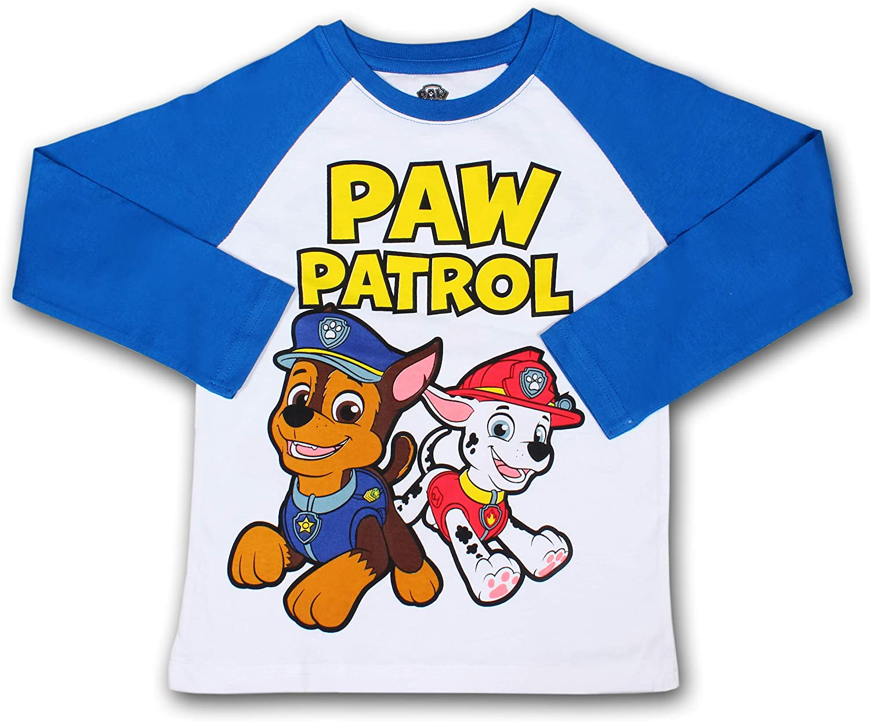 Nickelodeon Boy's Paw Patrol Pullover Graphic Tee with Raglan Long Sleeves