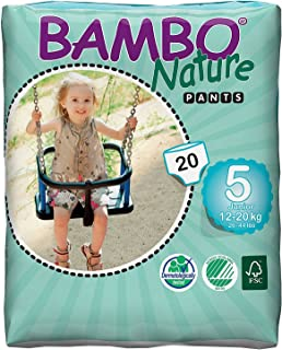 Bambo Nature Premium Baby Diapers - Pants Style, Large Plus Size, 20 Count - Super Absorbent Toilet Training Pull Ups for ...