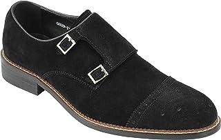 Hombres Negro Marrón Real Gamuza Doble Hebilla Retro de la Mod de los Holgazanes de los Zapatos de la Vendimia