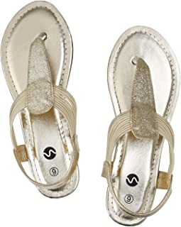 Flat Sandals - Sparkling Elastic Strappy Thong Ankle Strap Sandals for Women