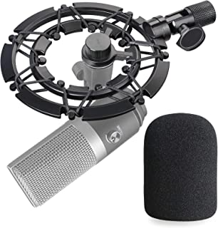 Fifine K670 Shock mount with Pop Filter - Alloy Shockmount and Foam Windscreen Mic Cover Reduces Vibration Noise and Impro...