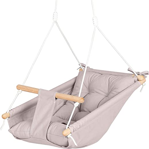 Cateam Canvas Baby Hammock Swing Cappuccino - Wooden Hanging Swing Seat Chair for Baby with Safety Belt and mounting Hardware. Baby Hammock Chair Birthday Gift.