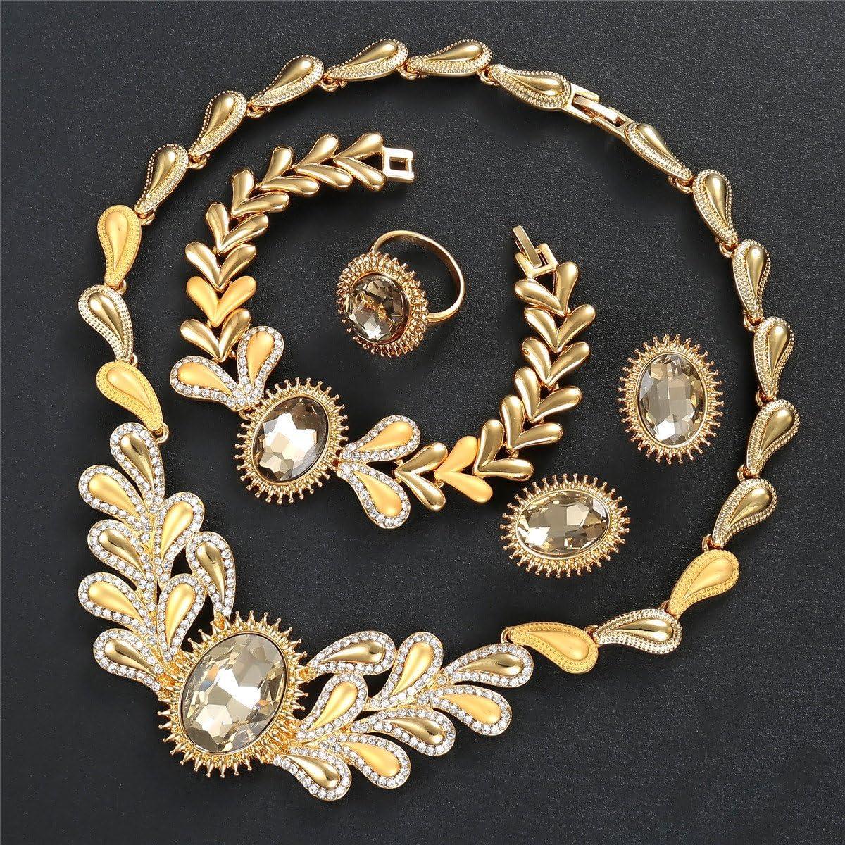 IFFURMON Bridal Crystal African Beads Jewelry Set Gold Color Fashion Dubai Women Jewelry Sets