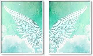 Brooke & Vine Girls Bedroom Wall Decor Art Prints - Kids Baby Girl Nursery Tween Women Posters for Home, Bedroom, Dorm, Office, Cubicle, Desk – (Unframed 8 x 10 Set of 2) Angel Wings