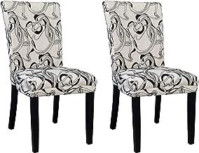 MILAN Mishka Wide Back Parson Side Chair, Black & White, Set of 2