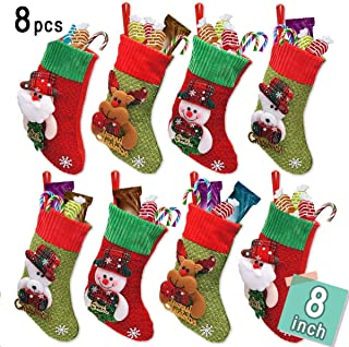 LimBridge Christmas Mini Stockings, 8 Pack 8 inches Small 3D Kids Glitter Set, Felt Xmas Tree Santa Claus Snowman Reindeer Gift Card Silverware Holders, Mini Personalized Holiday Treat Bags
