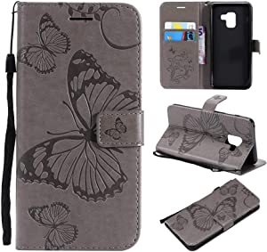 Samsung Galaxy 2018 Case THRION Butterfly Leather Flip Wallet Cover with Card Slot Holder and Magnetic Closure for Samsung Galaxy 2018  Gray