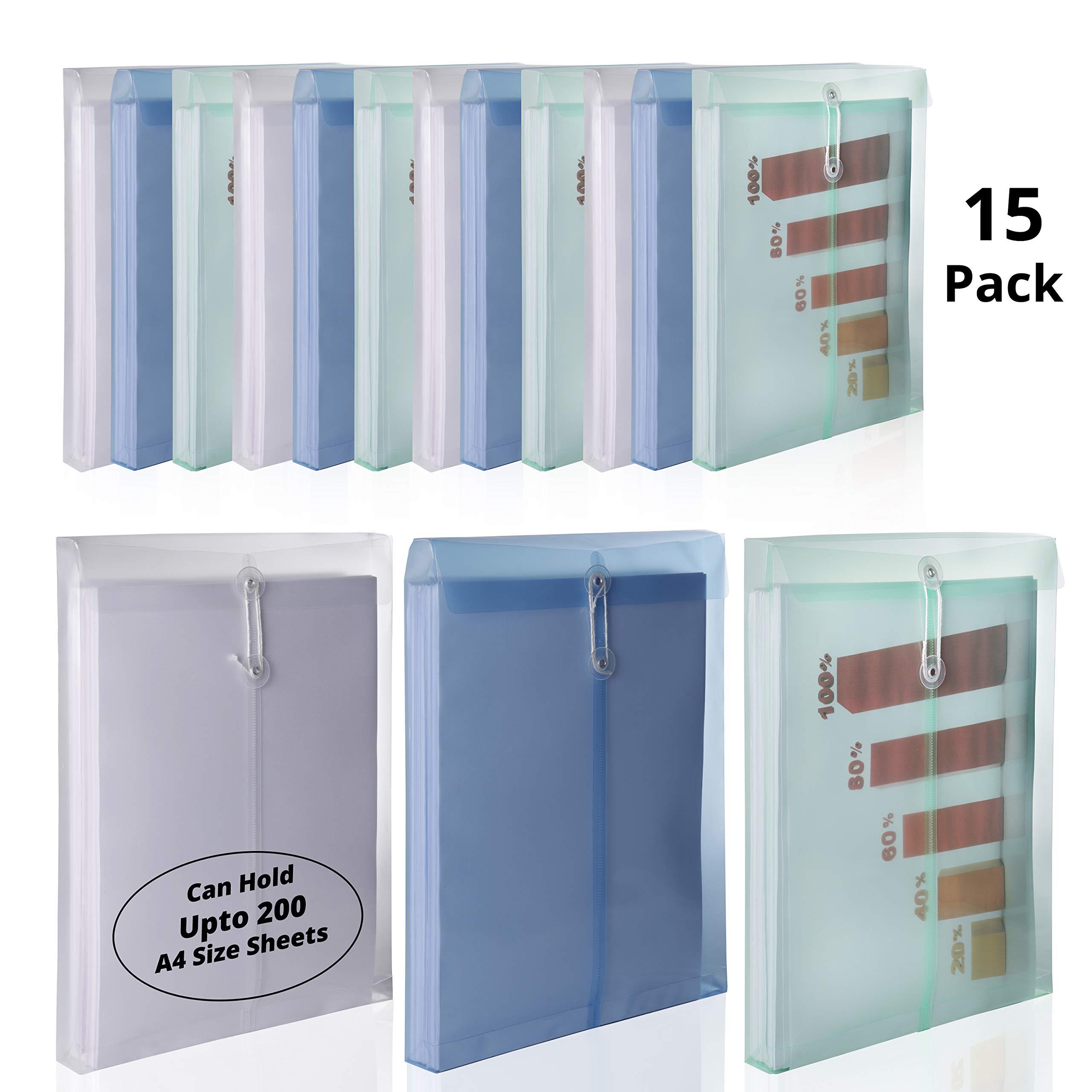Carpeta A4 (15 Unidades) - Carpeta Sobre en Plastico con Cordel - Expansible Carpeta Portafolios Transparentes para Documentos, Certificados, Recibos, Trabajo, Escuela (3 Colores): Amazon.es: Oficina y papelería