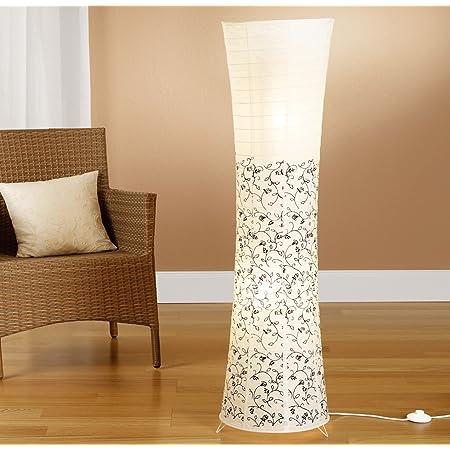 Trango Lampadaire design moderne I lampe en papier de riz en blanc rond avec motif floral TG1240 lampadaire, hauteur 125cm comme salon Lampe déco I lampadaire I abat-jour