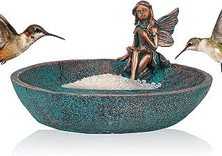 Angel Girl Fairy Garden Statue Bird Feeder Bath for Outdoor Home Crafts Resin Yard Decor Mermaid Cherub Garden Sculpture M...
