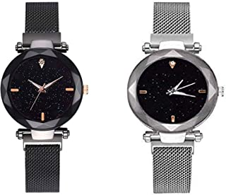 Raiyaraj Black dial Magnetic Black and Silver Belt Analog Watch Combo for Girls and Women