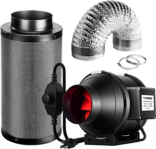new arrival VIVOSUN Ventilation Kit 4 Inch 190 CFM Inline Fan with Speed Controller, 4 2021 Inch Black Carbon Filter and 8 Feet high quality of Ducting for Grow Tent sale