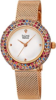 Burgi Swarovski Colored Crystal Women's Watch - A Genuine Diamond Marker - Stainless Steel Mesh Bracelet Wristwatch - BUR258