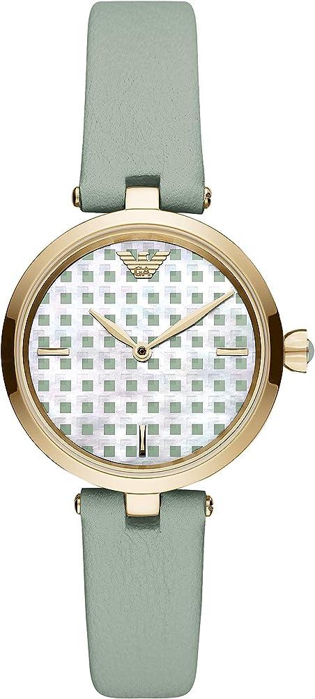 Emporio armani,orologio per donna,in acciaio e cinturino in pelle AR11314