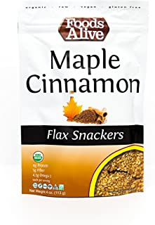 Foods Alive Maple & Cinnamon Flax Crackers - Delicious All-Flax Vegan Crackers, Great for Low Carb Snacks, Non-GMO, Raw, K...