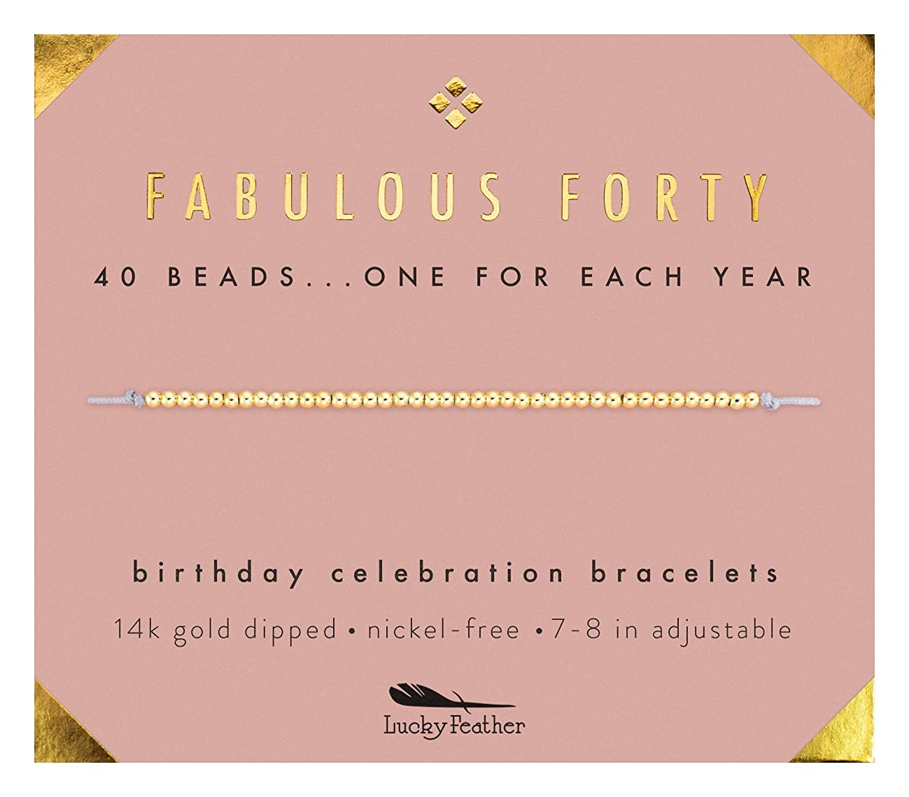 Lucky Feather 40th Birthday Gifts for Women, 14K Gold Dipped Beads Bracelet on Adjustable 7