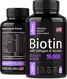 Biotin, Keratin & Collagen Pills - Marine Collagen & Biotin Vitamins for Hair, Skin, and Nails - Made in The USA - Collage...