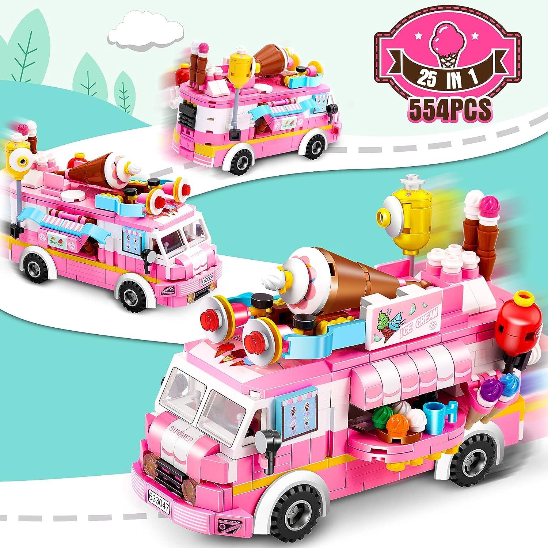 COOLJOY 554 PCS Bloques 3D, Juguetes Construcciones para Niños, Camiones de Hielo Rosa Combina 12 Modelos Princesa y Principe con un Total de 25 Estilos de Juguetes de Construcción de Castillos