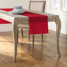 LA Linen Polyester Poplin Table Runner 14 by 108-Inch, Red