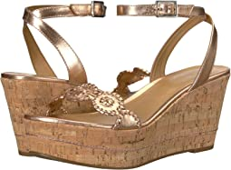 513108848008 Jack rogers clare rope wedge cork gold