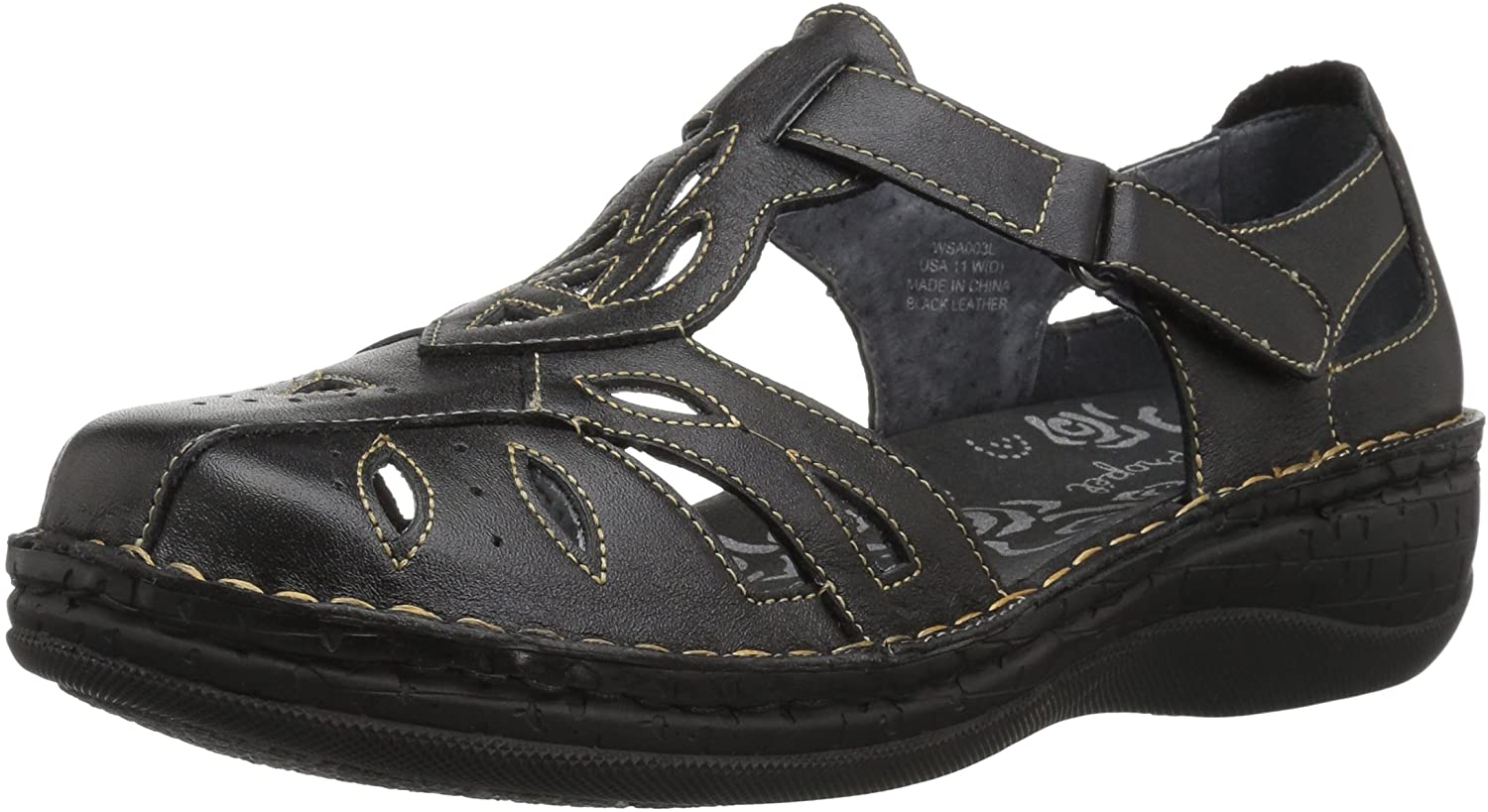 Propet Women's Jenna Fisherman Sandal Black 8 Medium US