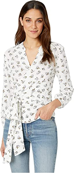 Long Sleeve Wrap Front Delicate Sprigs Blouse