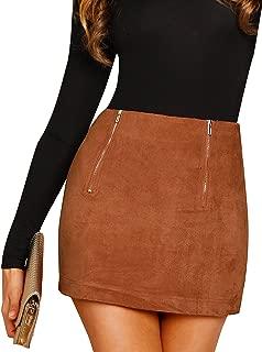 Women's High Waist Faux Suede Bodycon Pencil Mini Skirt