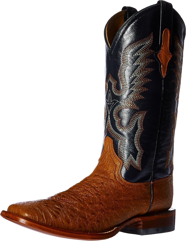 Ferrini Men's Smooth Ostrich Square Toe Cognac Western Boot