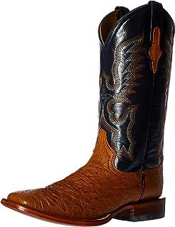 حذاء Fererian الرجالي الغربي ذو الأصابع المربعة الناعم النعامة من جلد النعام الناعم