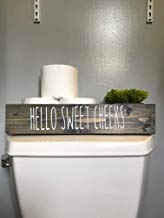 Hello Sweet Cheeks Decorative Gray Toilet Topper Bathroom Storage Box Toilet Paper Holder