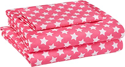 amazonbasics Kid's Sheet Set - Soft, Easy-Wash Lightweight Microfiber - Twin, Pink Stars