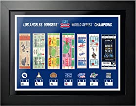 """Mustang Product Los Angeles & Brooklyn Dodgers 2020 World Series Tickets to History Photo (Size: 20"""" x 26"""") Framed"""