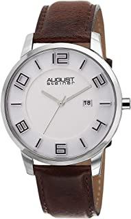 August Steiner Men's White Dial Leather Band Watch - AS8108BR