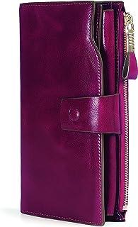 Demon&Hunter Monedero Piel Mujer RFID Bloqueo Gran Capacidad Cera Cuero Cartera Monedero Púrpura DZA2083V