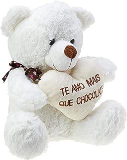 Urso com Coração Chocolate, Foffylandia, Branco, 31cm