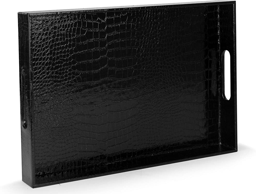 Beautiful Modern Elegant Black 18 X12 Rectangle Glossy Alligator Croc Decorative Ottoman Coffee Table Perfume Living Dining Room Kitchen Serving Tray With Handles By Home Redefined For All Occasion S