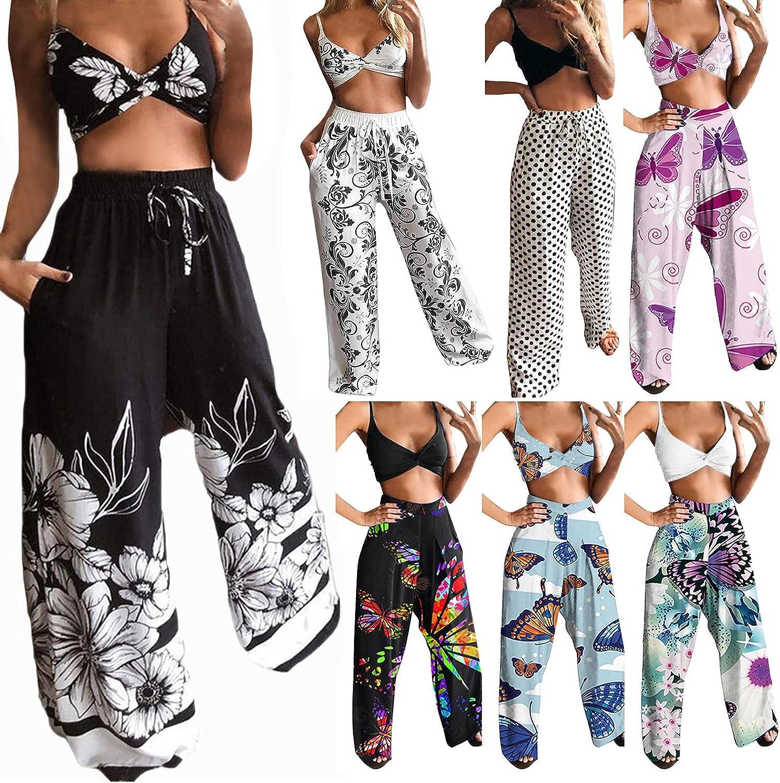 Smooto Women Bohemian Butterfly Printed Pattern Tops + Wide Leg Pants 2Pcs Set