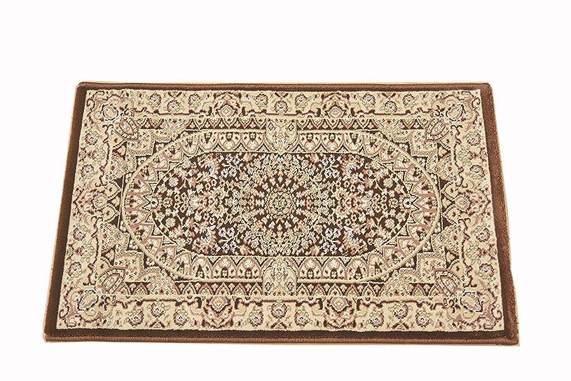 ステップ同様に怠惰ウィルトン織 ペルシャデザイン 玄関マット 約 50X80 屋内 室内 ウィルトン マット ウィルトン織り サフィール5080 (ブラウン)