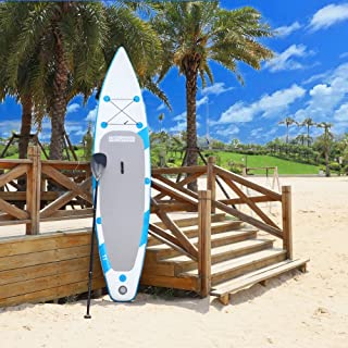 PEXMOR 11' Inflatable Stand Up Paddle Board (6 Inches Thick) with SUP Accessories & Carry Bag | Wide Stance, Bottom Fin for Paddling, Surf Control, Non-Slip Deck | Youth & Adult Standing Boat